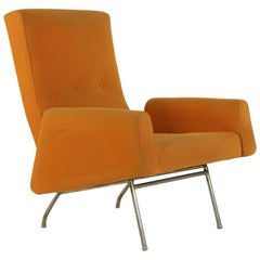 Louis Paolozzi Orange Wool Armchair on Tubular Base, Manufactured by Zol, 1950s