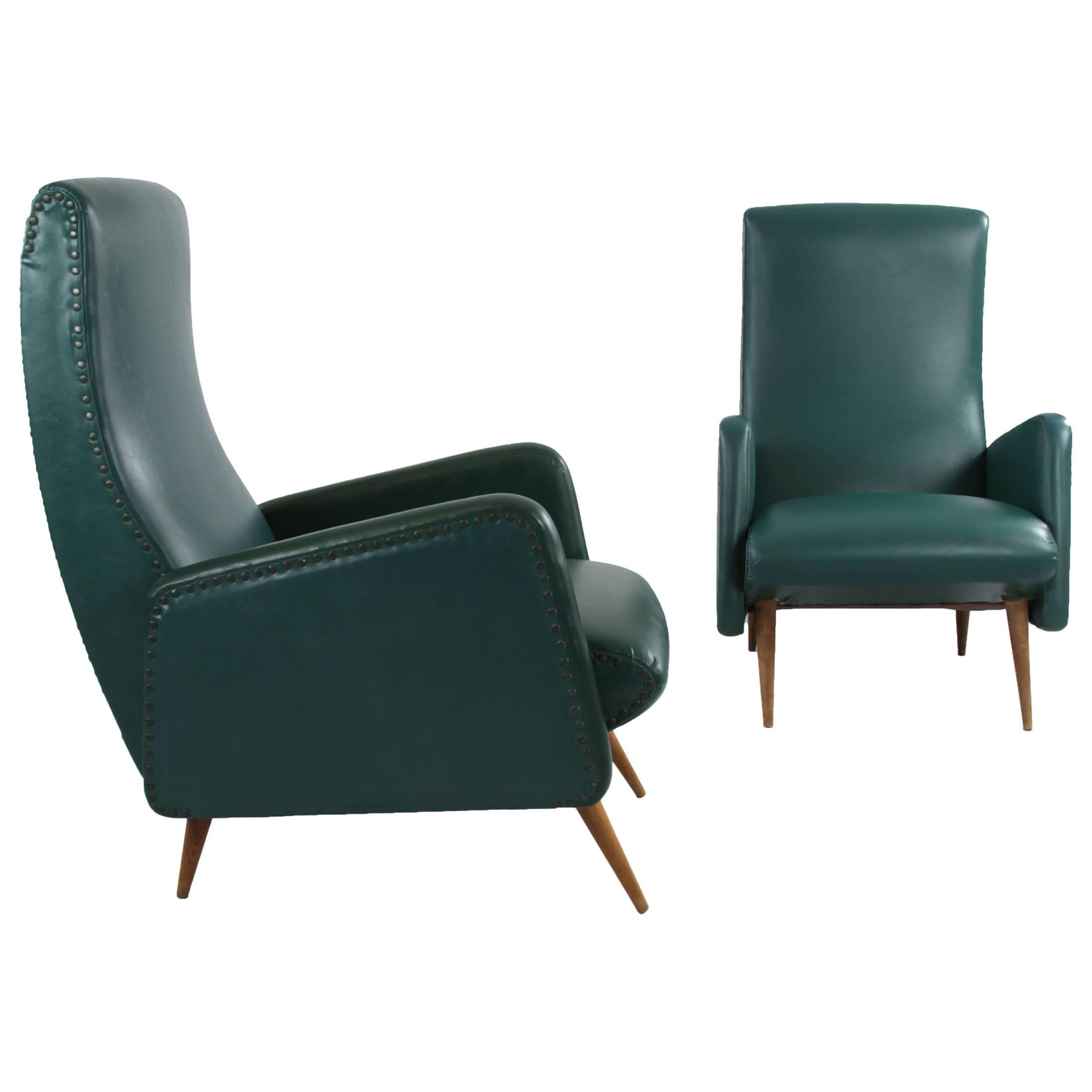 Pair of Italian Chairs in Original Green Imitation Leather Upholstery, 1950