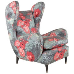 Wingback Chair, Design by Paolo Buffa, Italy, 1940s