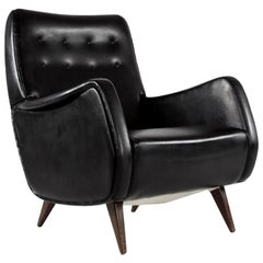 Set of Two Italian Armchairs in Original Black Leatherette Upholstery, 1950s