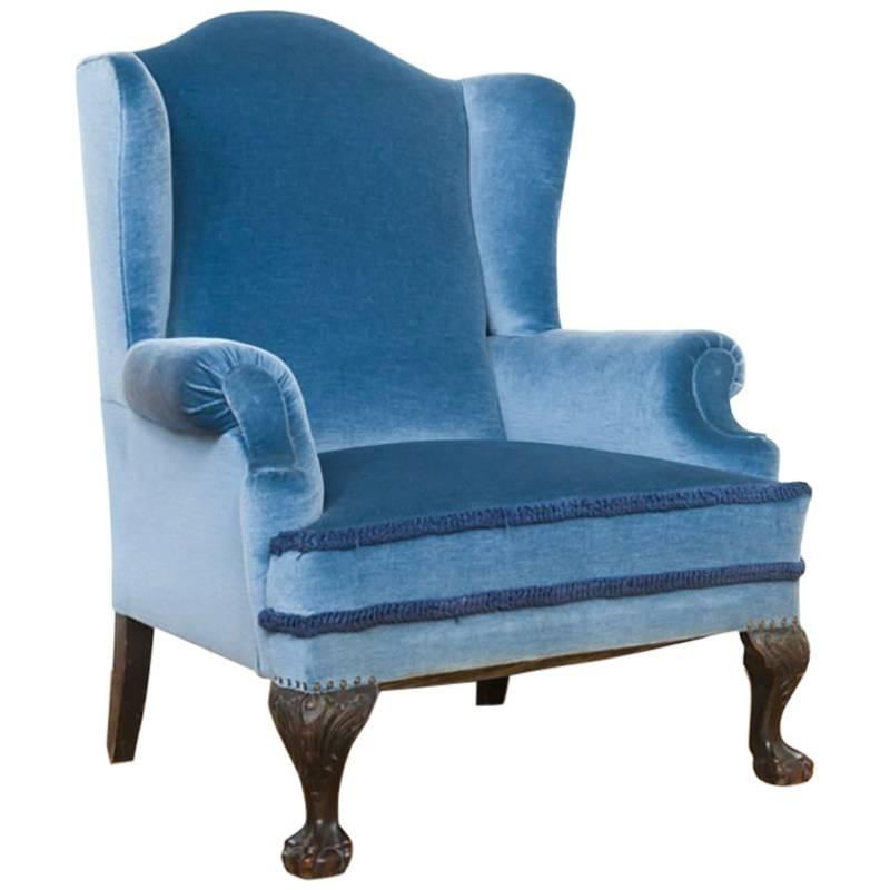 Antique Blue Velvet Wingback Chair On Mahogany Ball And Claw Feet For Sale