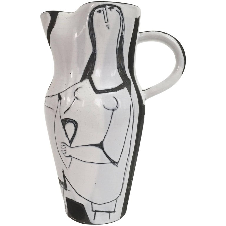 Jacques Innocenti, Large Baluster Ceramic Vase Pitcher, Black and White
