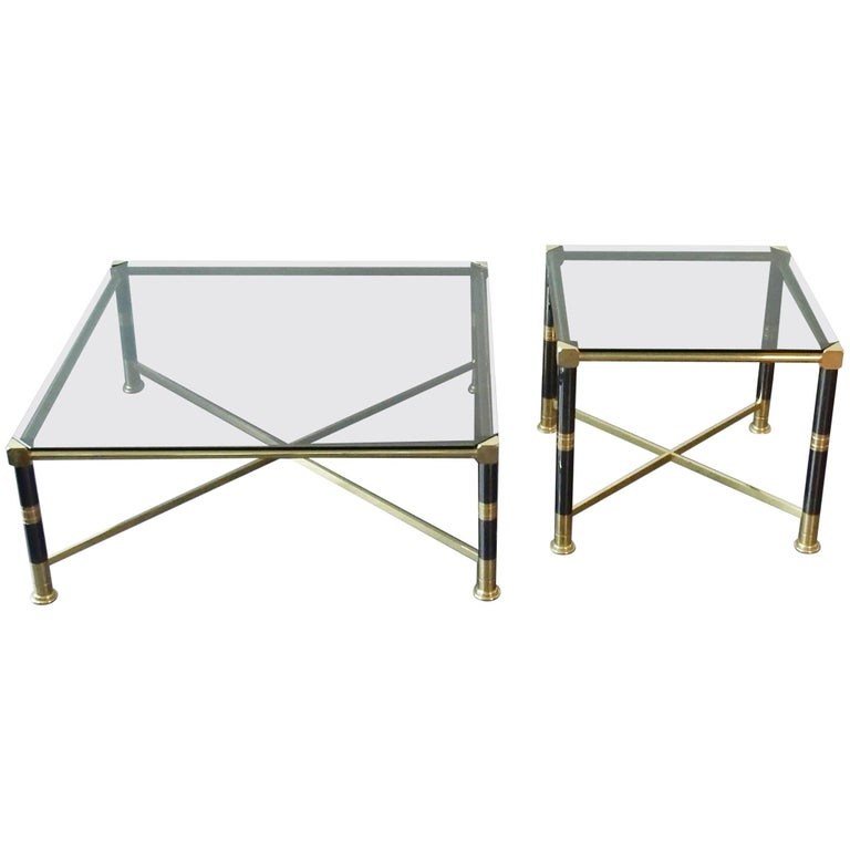 Set of a coffee table and a side table. Hollywood Regency. 1970's