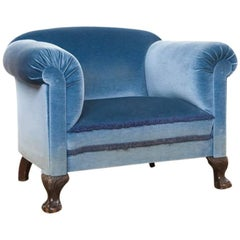 Early 20th century restored and reupholstered Blue velvet club chair