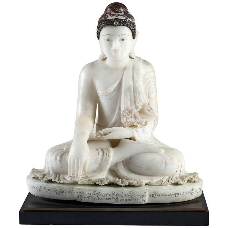 Antique Burmese Alabaster Seated Mandalay Buddha Sculpture, inscriptions on Base For Sale