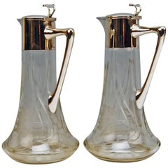 Silver 800 Two Jugs Decanters Glass Art Nouveau Alexander Birkl Vienna, 1900