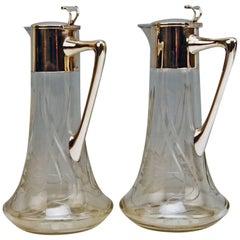 Silver 800 Two Jugs Decanters Glass Art Nouveau Alexander Birkl Vienna, 1900