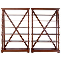 Pair of Antique Anglo-Indian or British Colonial Mahogany Waterfall Bookcases