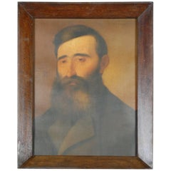 Naive 19th Century Oil Painting Portrait