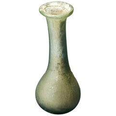 Ancient Roman Glass, small flask with long neck