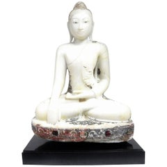 Antique Burmese Marble Seated Buddha Sculpture, Mandalay, Lacquer&Glass Remains