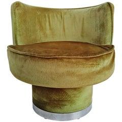 French Pouf Chair in Pistachio Green Velvet, 1970s