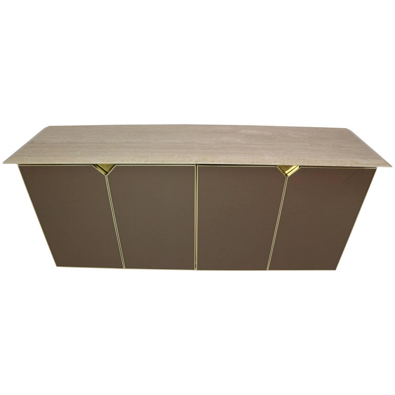 Belgochrom Sideboard with Travertine Top, 1970s