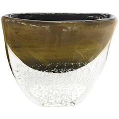 Romano Dona Large Incalmo Black Gold Vase, Murano Sommerso Bubbles Pulegoso