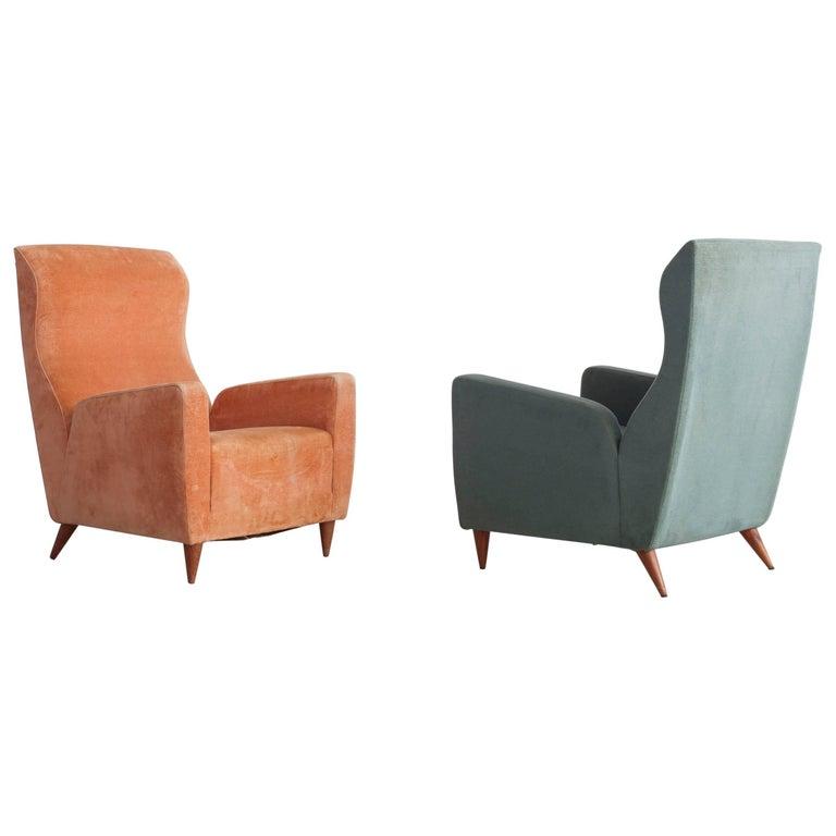 Pair of Italian, 1950s Chairs in Original Upholstery
