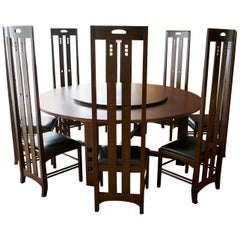 Art Nouveau Style Set of Dining Table and High Back Chairs by Macintosh
