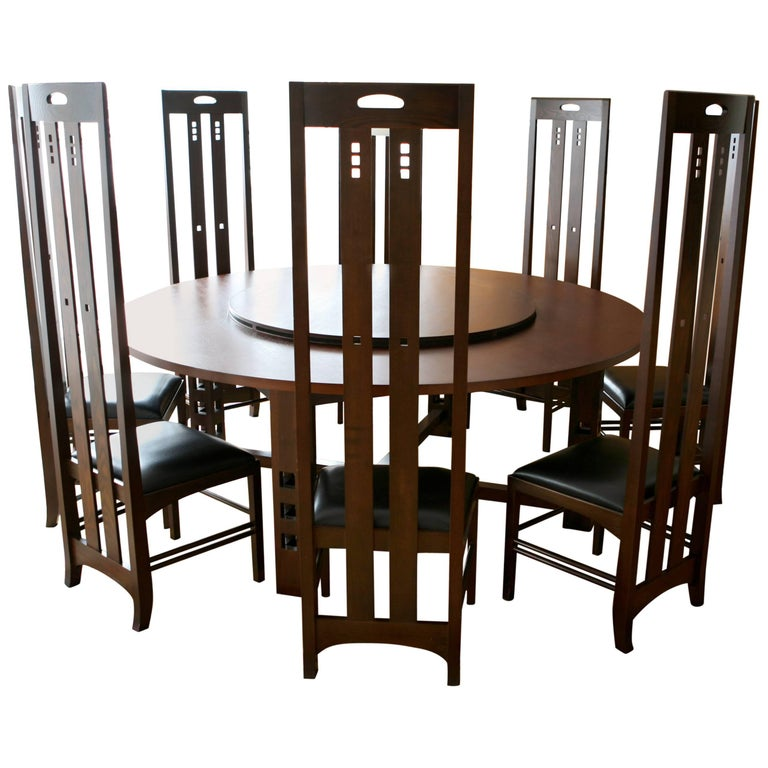 Art Nouveau Style Set Of Dining Table And High Back Chairs