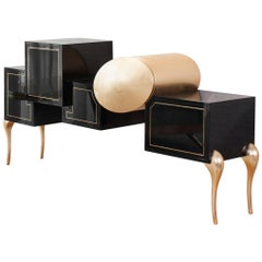 Black Lacquered Wooden Sideboard With Gold Leaf And Brass