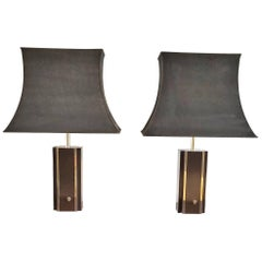 Pair of Chocolate Laminate Table Lamps with Brass Accents, France, 1970s