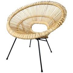 Design Rattan Black Metal Sun Lounge Armchair