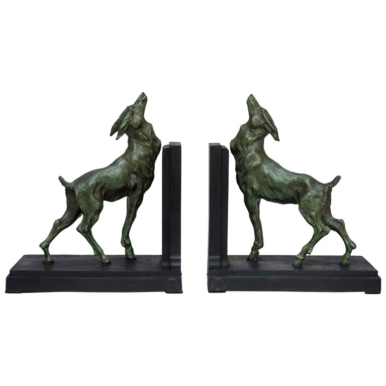 French Art Deco Pair of Bookends, Signed G. Limousin