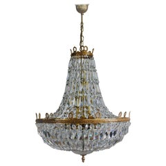 Huge Gold- Plated Empire Style Crystal Chandelier by Palwa, Germany, 1960s