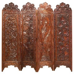 Art Nouveau Orientalist Massive Exotic Wood Room Divider Paravan Screen
