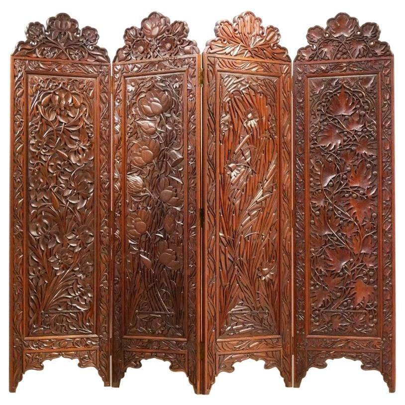 Etonnant Art Nouveau Orientalist Massive Exotic Wood Room Divider Paravan Screen For  Sale