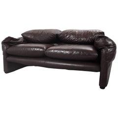 Maralunga Lounge Modern Lounge Sofa in Brown Leather by Vico Magistretti, 1973