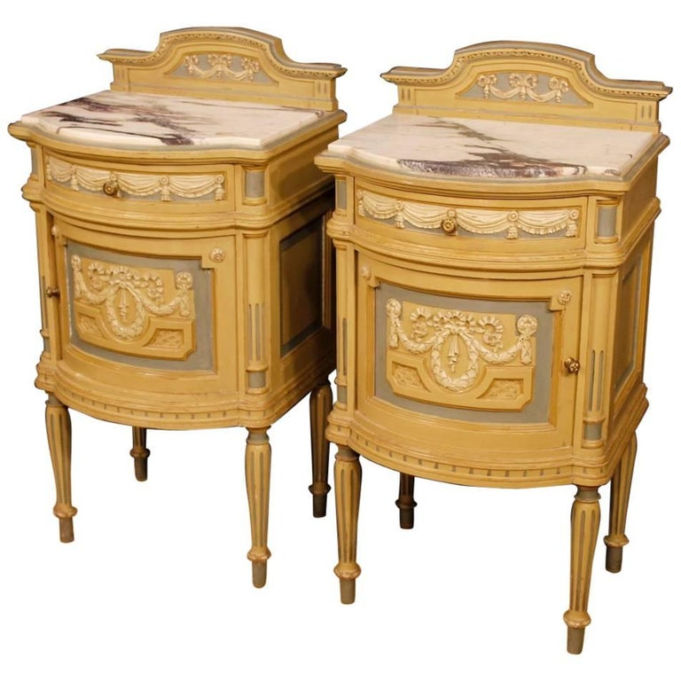 Pair Of Italian Lacquered Bedside Tables With Marble Top In Louis XVI Style