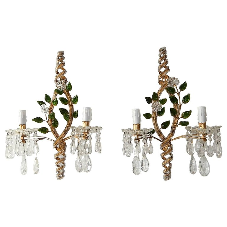 French Maison Baguès Style Clear with Green Leaves Beaded Sconces