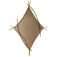 1970s Bicolor Gilded Metal Arc Shaped Wall Mounted Mirror