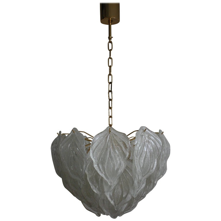 Large Mid - Century Murano Glass Leaf Chandelier, Italy, circa 1970s