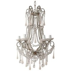 French Pink Opaline Murano Drops & Bobeches Beaded Chandelier