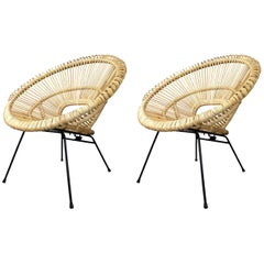 Mid Century Style Rattan Sun And Black Metal Pair of Lounge Armchairs