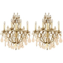 Pair of Louis XV Style Gilt-Bronze and Cut-Crystal Five Light Sconce