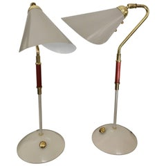 Pair of Table Lamps by Karlskrona Lampfabrik with Brass and Leather Details