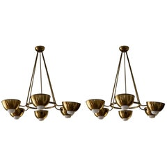 Pair Large Italian Mid Century Brass Chandelier