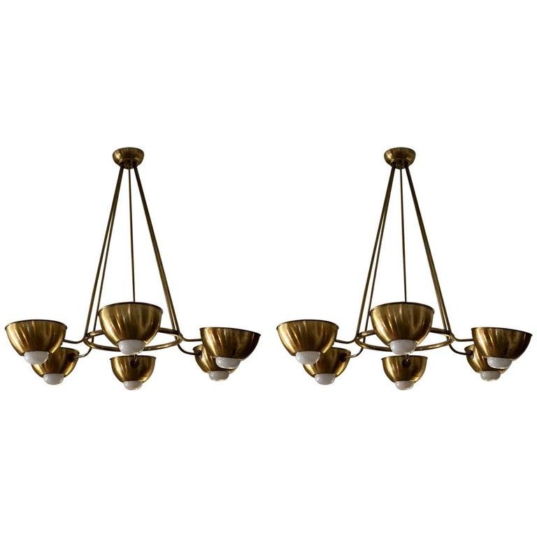 Pair Large Italian Mid Century Brass Chandelier