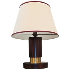 Art Deco Rosewood and Brass Table Lamp, circa 1930