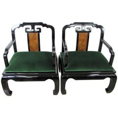 James Mont Asian Inspired Armchairs in Black Lacquer, Pair