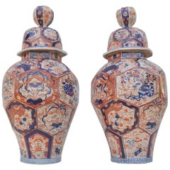 Large Pair of Japanese Imari Vases and Covers