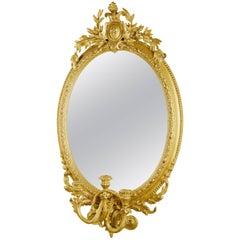 Gilded Three Light Girandole Mirror