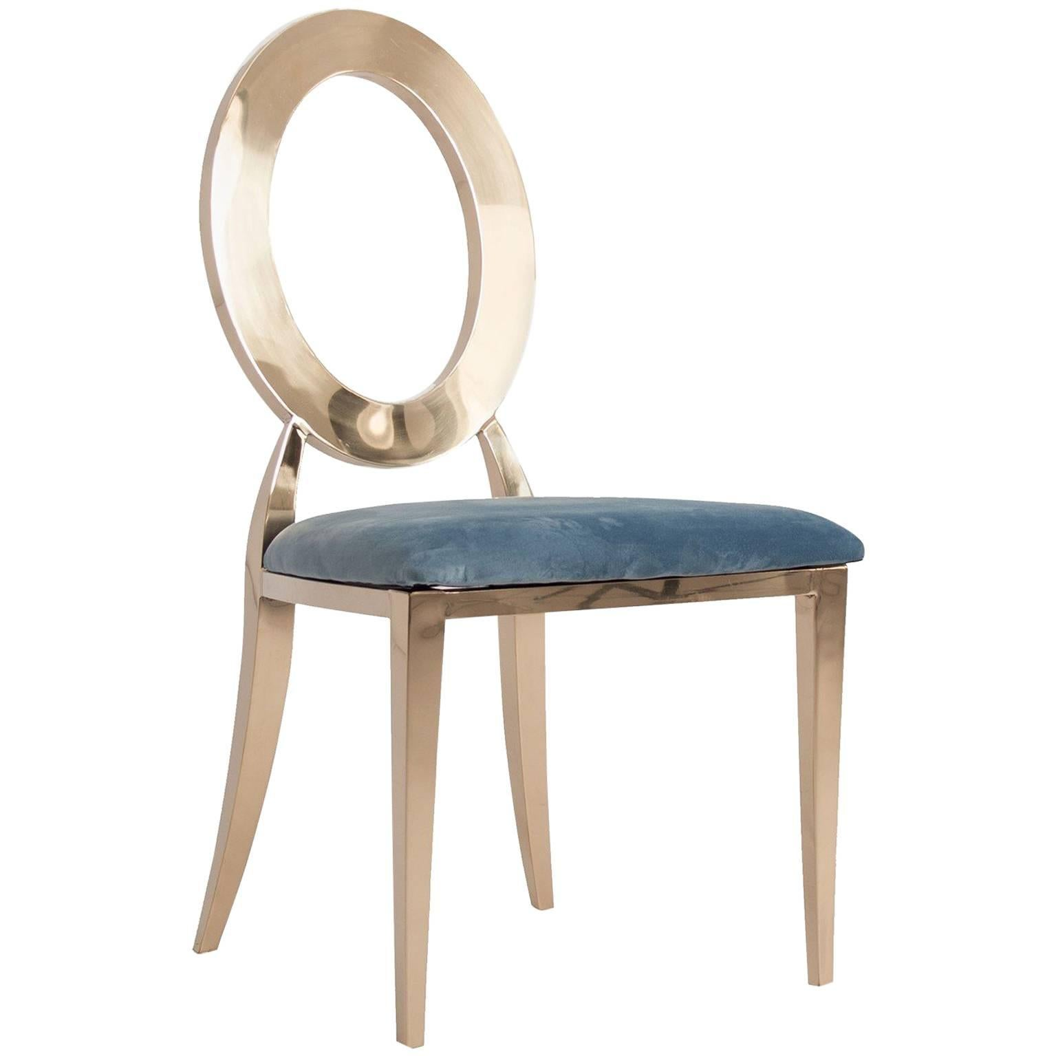 Gilded Metal And Azure Fabric Design Chair