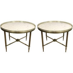 Pair of Brass End Tables with White Marble Tops by Maison Jansen