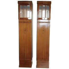 Pair of Art Nouveau Small Armoires or Cabinets Mahogany and Glass with Inlay