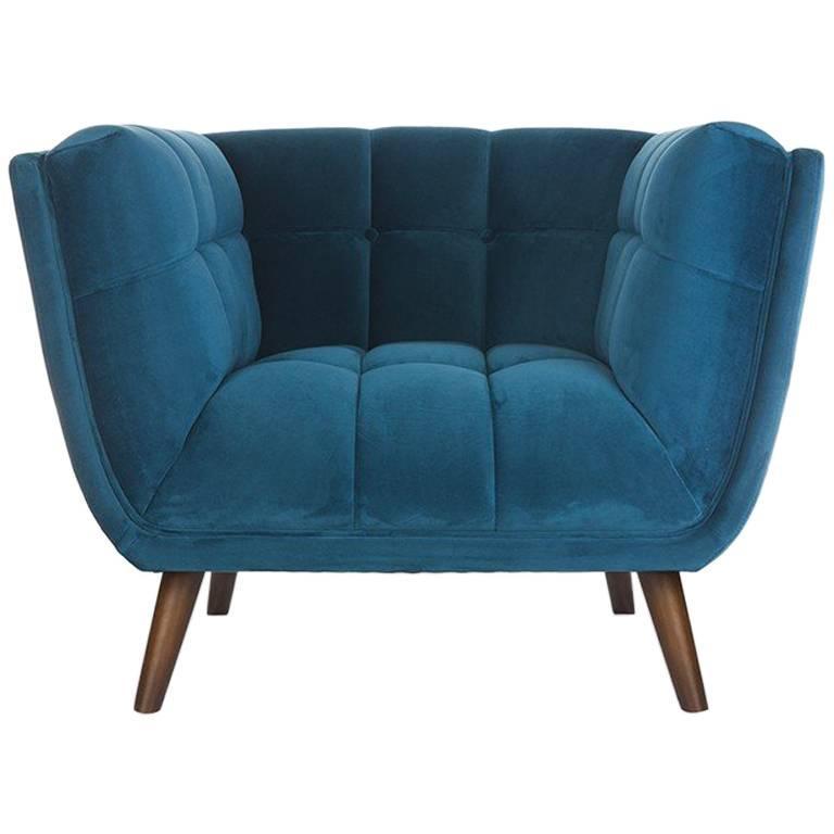 Blue Velvet And Wooden Feet Design Armchair