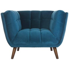 Blue Velvet And Wooden Feet Design Armchair