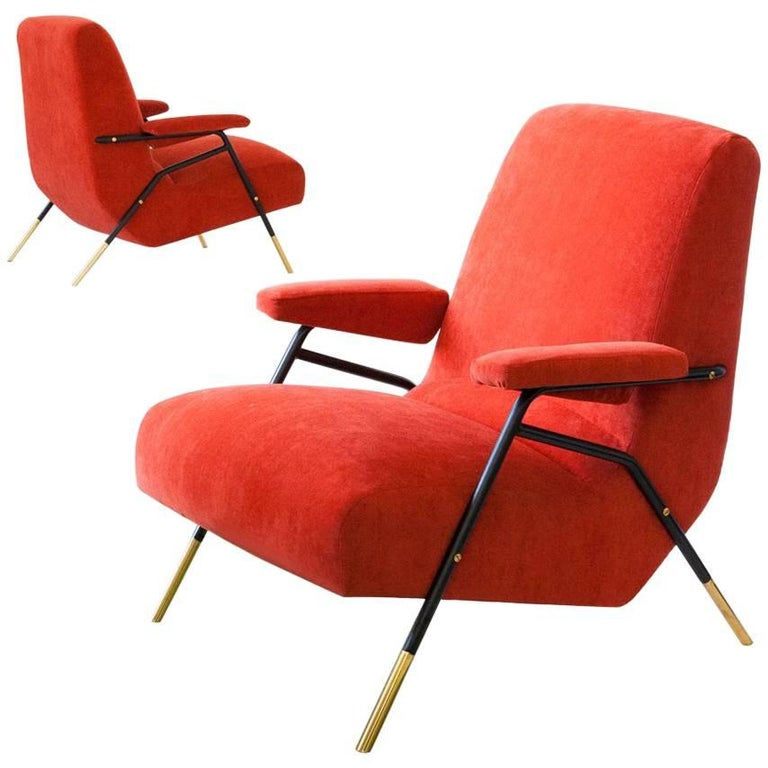 Italian Modern Orange Velvet Lounge Armchairs  , 1950s