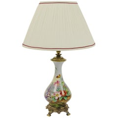Porcelain Table Lamp Depicting a Heron and Verdant Foliage